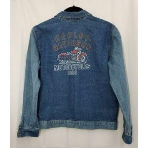 Harley Davidson Denim Jacket Jean Coat Motorcycle